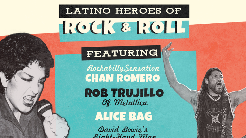 This week, Latino USA explores the Latino influences that helped shape rock & roll, including Alice Bag (left), and Robert Trujillo (right).
